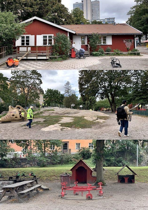 스톡홀름 쇠데말름에 있는 공원/놀이터를 찾은 아이들과 보육교사,