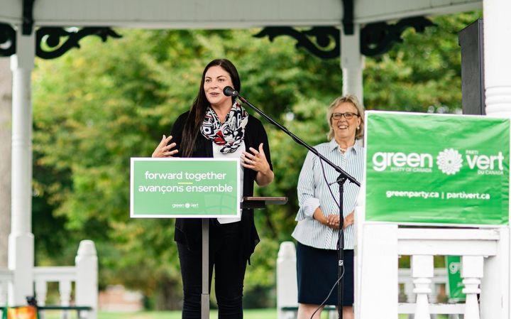 Newly elected Fredericton MP Jenica Atwin (left) and Green Party leader Elizabeth May at a rally Sept. 23, 2019.