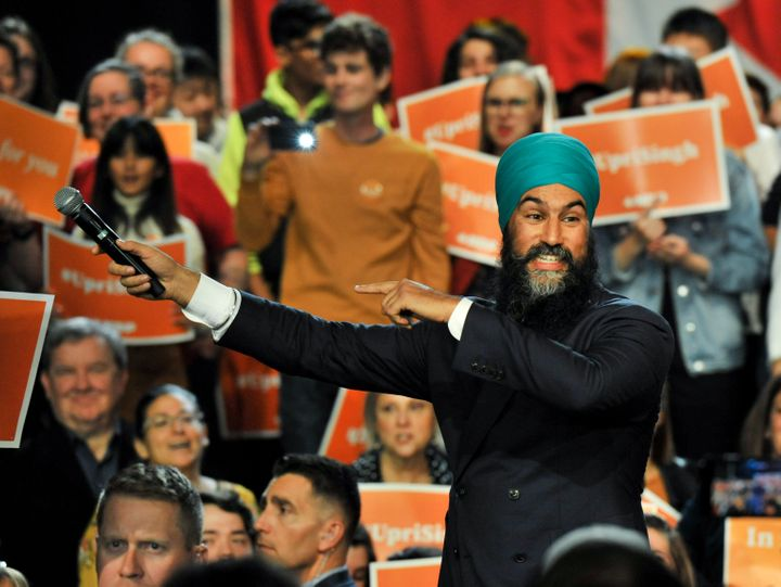 NDP Leader Jagmeet Singh addresses supporters at the Vogue Theatre in Vancouver on Oct. 19, 2019.