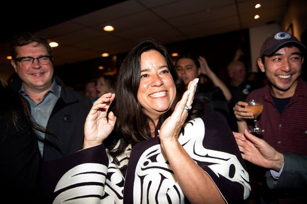 Jody Wilson-Raybould celebrates her election win in Vancouver on Oct. 21,