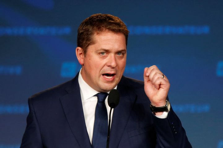 Conservative Leader Andrew Scheer addresses supporters after he lost to Justin Trudeau in the federal election in Regina on Oct. 21, 2019.