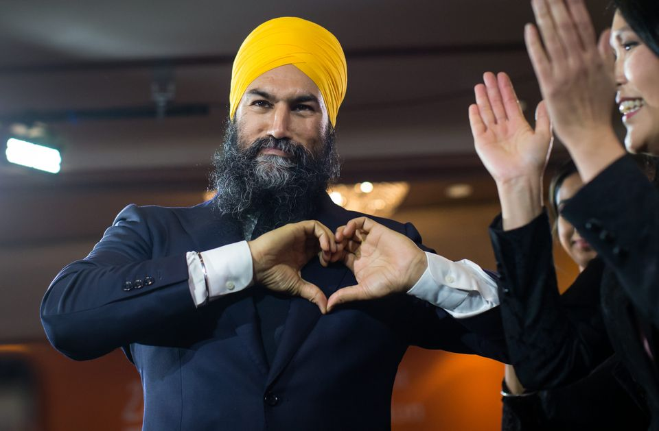 NDP Leader Jagmeet Singh gestures to supporters during an election night party in Burnaby, B.C., on Monday...