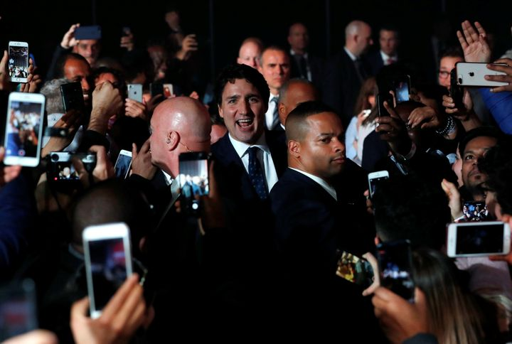 Liberal Leader Justin Trudeau arrives to speak to supporters after the federal election at the Palais des Congres in Montreal on Oct. 22, 2019.