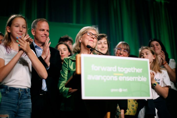 Green Party leader Elizabeth May delivers a speech on election night at Crystal Gardens in Victoria on Oct. 21, 2019.
