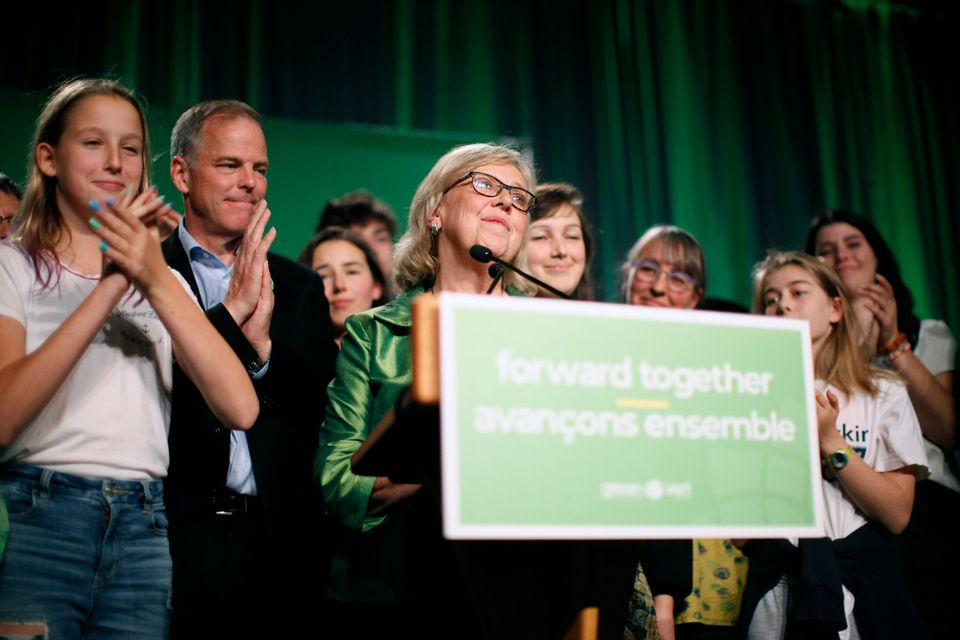 Green Party leader Elizabeth May delivers a speech on election night at Crystal Gardens in Victoria on...
