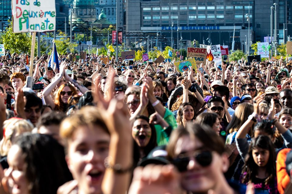 Thousands of protesters march on the streets during the global climate strike in Montreal on Sept. 27,