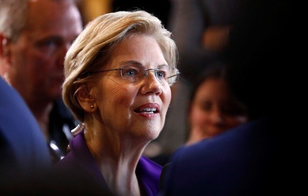 FILE PHOTO: Senator Elizabeth Warren does an interview in the Spin Room after the fourth Democratic U.S....