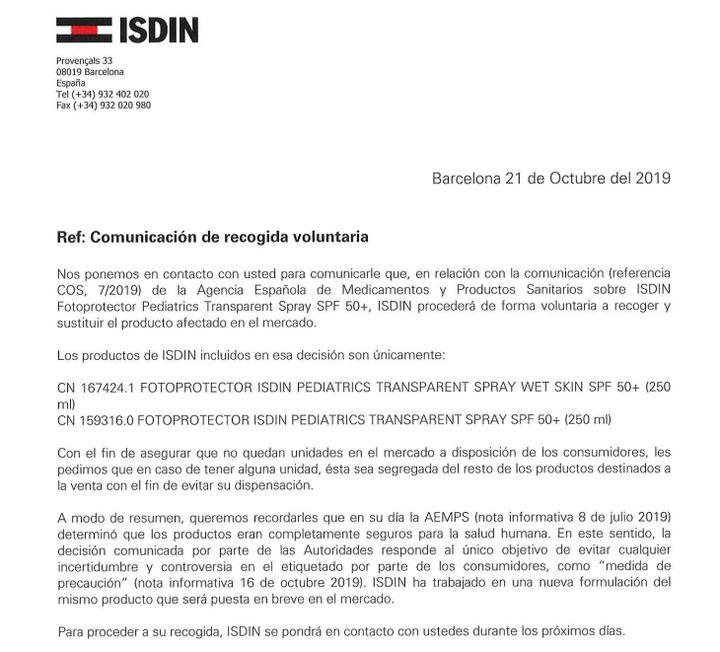 Comunicado de Isdin
