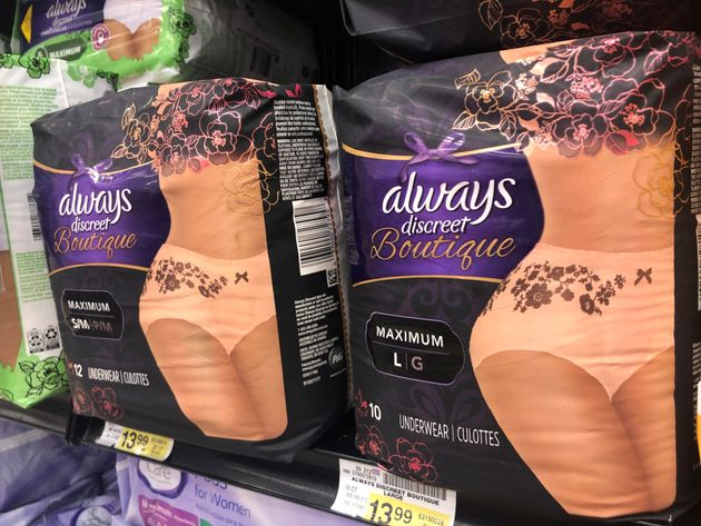 Adult diapers marketed as feminine and sexy are displayed in a grocery store in Chicago, Illinois, U.S....