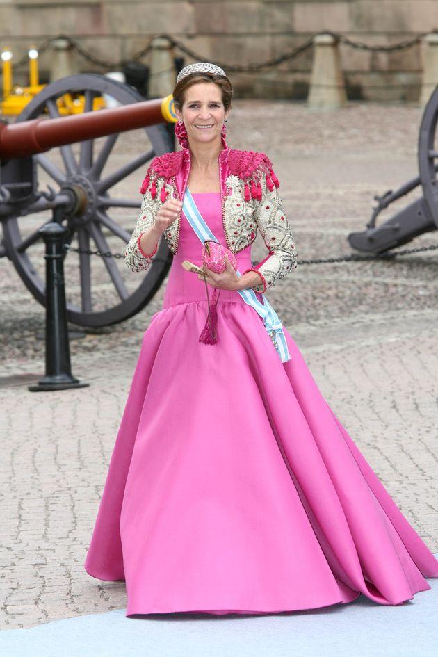 La infanta Elena, en la boda de Victoria de