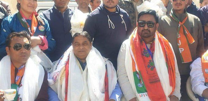 """BJP leaders Sat Sharma and Haji Anayat Ali address party activists at Kargil in September, 2019. """"BJP is the future in Kargil,"""" said Ali, who left the PDP and joined BJP on 26 August."""