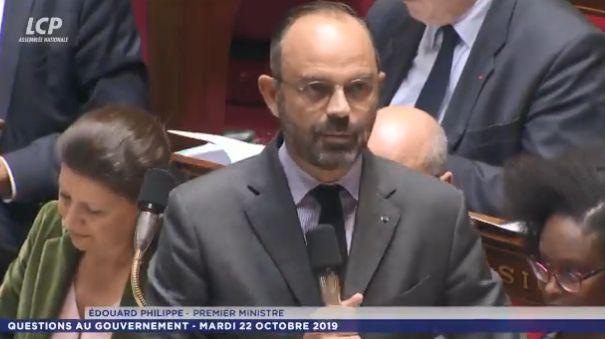 Edouard Philippe, le Premier ministre, à la séance de questions au gouvernement mardi 22 octobre à l'Assemblée