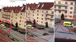 La fuga dell'attentatore di Oslo dopo aver travolto la folla con un'ambulanza