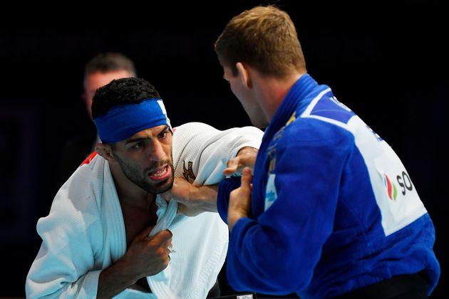 L'Iranien Saeid Mollaei (en blanc) lors de sa demi-finale des moins de 81 kg lors des championnats du...