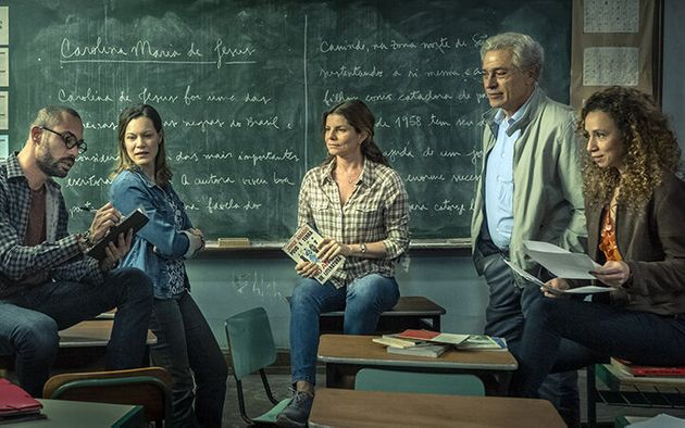 Os professores: Marco André (Silvio Guidane), Sônia (Hermila Guedes), Lúcia (Débora...