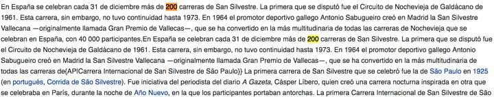 La San Silvestre en España según Wikipedia (22/10/2019).