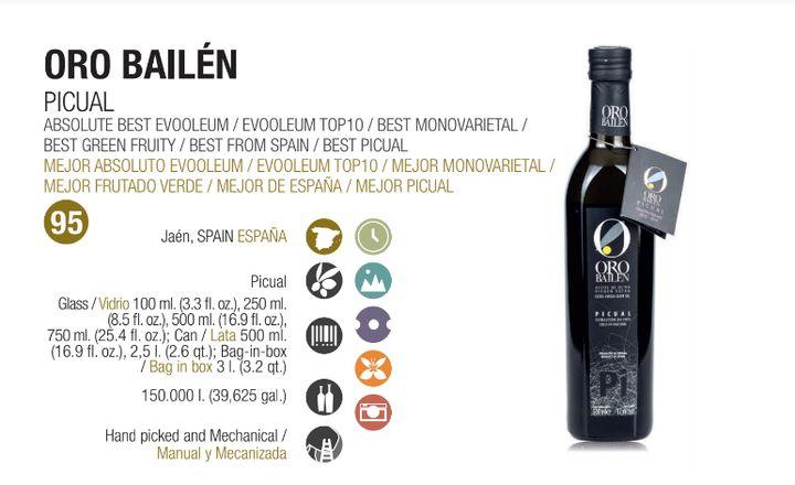 Aceite de oliva virgen extra Oro Bailén Picual.