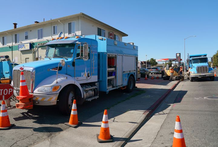 Pacific Gas & Electric crews work on October 09, 2019, in Vallejo, California, amid a massive planned power outage to hun