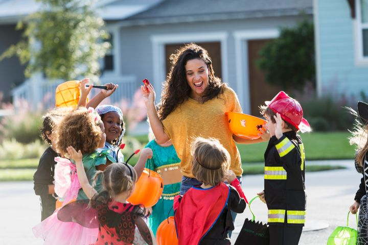 Handing out candy on the driveway, instead of at the door, eliminates the need for kids to climb stairs.