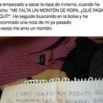 Una tuitera arrasa en redes al compartir la nota que encontró al sacar su ropa de