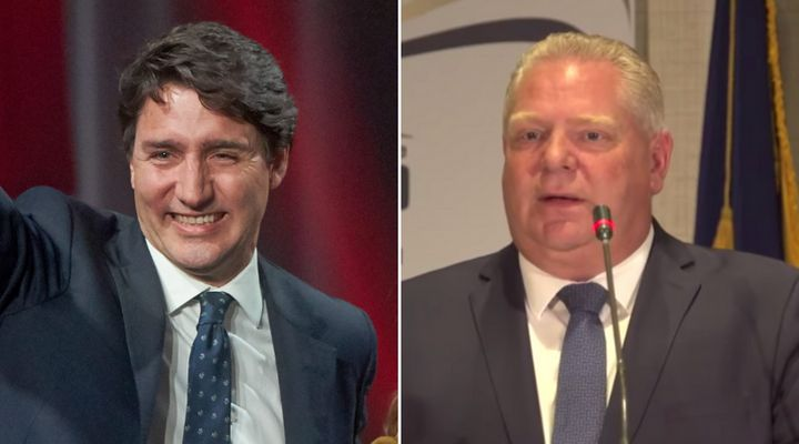 Liberal Leader Justin Trudeau celebrates winning the most seats in the 2019 election in Montreal Monday night; Ontario Premier Doug Ford addresses a meeting of provincial police in the Blue Mountains Tuesday.