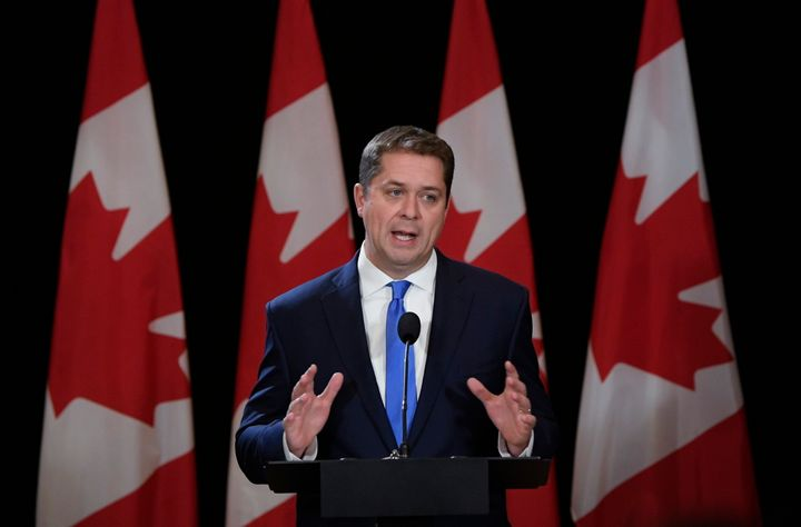 Conservative Leader Andrew Scheer speaks during a news conference in Regina on Oct. 22, 2019.