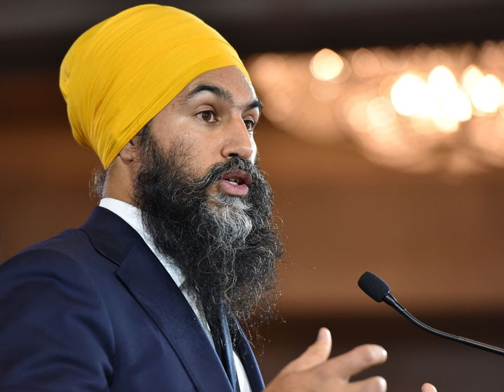 Jagmeet Singh delivers his concession speech at the NDP Election Night Party in Burnaby, B.C. on Oct. 21, 2019.