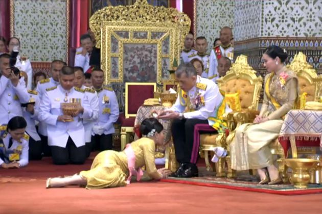 This screengrab from Thai TV Pool video taken on May 5, 2019 shows Thailand's King Maha Vajiralongkorn...