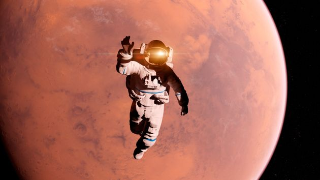 Illustration of an astronaut in front of