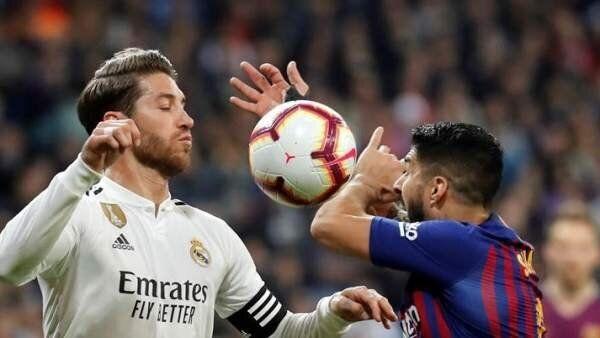 Sergio Ramos y Luis Suárez, en un lance del