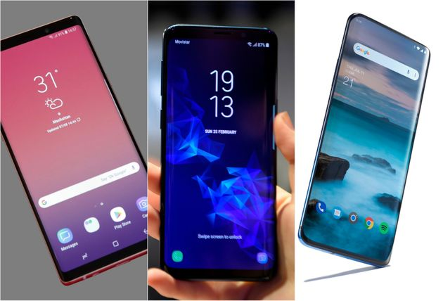 Samsung Galaxy Note 9,Samsung Galaxy S9 andOnePlus 7