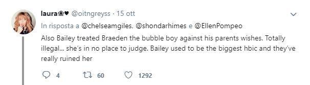 I commenti contro Grey's