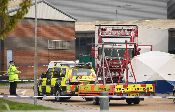 Police activity at the Waterglade Industrial Park in Grays, Essex, after 39 bodies were found inside a lorry container on the industrial estate
