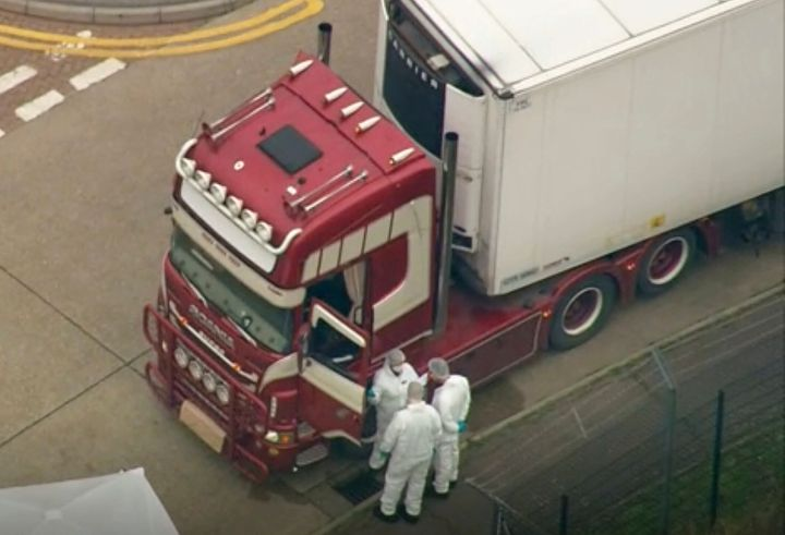 An aerial view as police forensic officers attend the scene