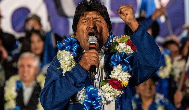 Le président Evo Morales lors d'un meeting de campagne à El Alto, en Bolivie, le 16