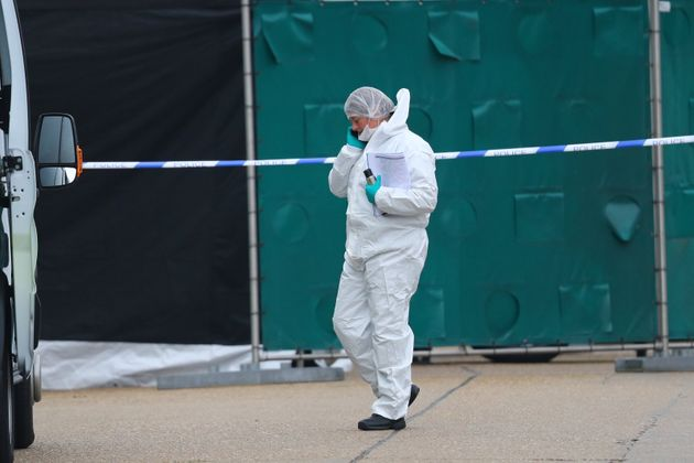 Police activity at the Waterglade Industrial Park in Grays, Essex, after 39 bodies were found inside...