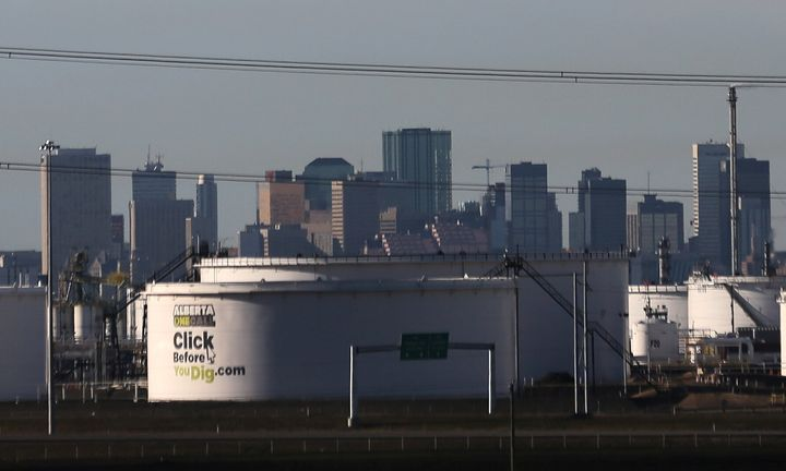 Crude oil tanks at Enbridge's terminal are seen in Sherwood Park, near Edmonton, Alta., Nov. 13, 2016.