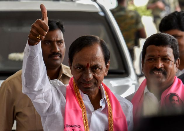 Kalvakuntla Chandrashekar Rao outside TRS Bhavan, Banjara Hills, on December 12, 2018 in