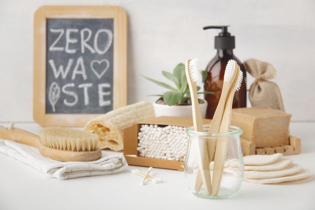 Zero waste, Recycling, Sustainable lifestyle concept. Eco-friendly bathroom accessories: toothbrushes,...