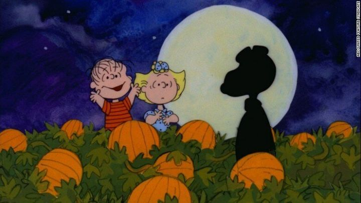 Linus and Sally think they spot the mysterious Great Pumpkin in this still from the Charles Schulz classic.