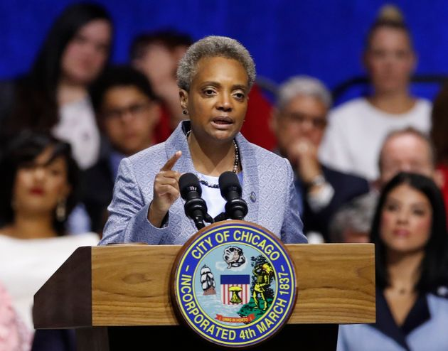 Mayor of Chicago Lori Lightfoot speaks during her inauguration ceremony in