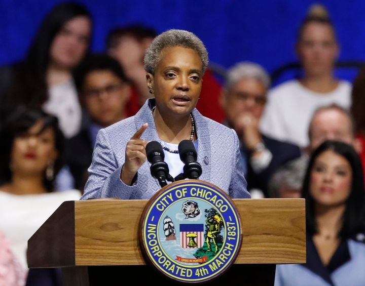 Mayor of Chicago Lori Lightfoot speaks during her inauguration ceremony in Chicago.