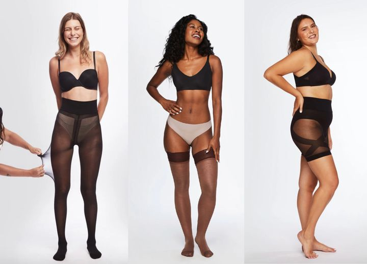 From left: classic sheers in black. thigh-highs in dark, no sweat shorties in black.