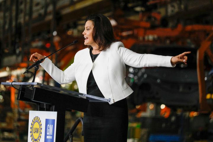 Michigan Gov. Gretchen Whitmer speaks at General Motors' Orion, Michigan, assembly plant on March 22.