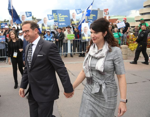 Bloc Québécois Leader Yves-François Blanchet and wife Nancy Deziel arrive at...