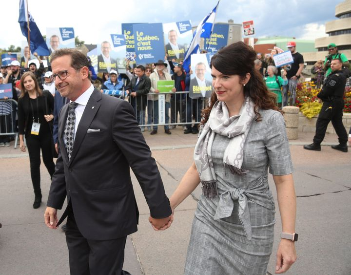 Bloc Québécois Leader Yves-François Blanchet and wife Nancy Deziel arrive at The Leaders Debate at the Canadian Museum of History in Gatineau, Que. on Oct 7, 2019.