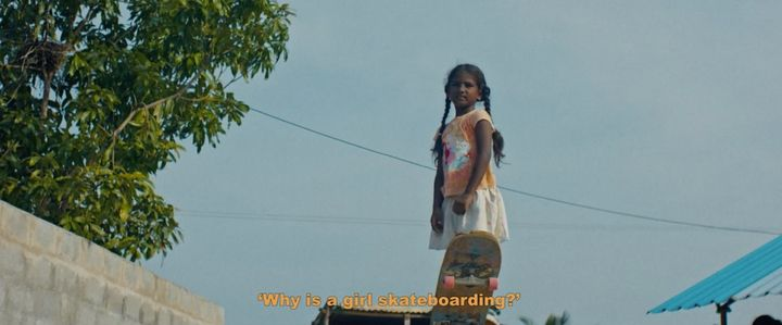 """Kamali Moorthy is the 9-year-old skateboarder at the center of the documentary """"Kamali."""""""