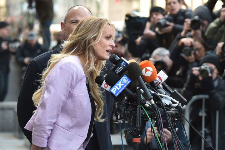 Adult film actress Stormy Daniels speaks to the media outside U.S. Federal Court on April 16, 2018, in New York City.