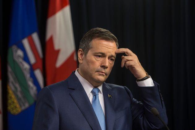 Premier Jason Kenney speaks to the media in Edmonton on Oct. 22,