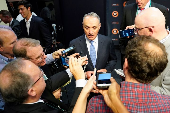 MLB commissioner Robert D. Manfred Jr. talks to the media before Game 2 of the baseball World Series between the Houston Astr